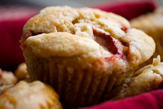 fresh baked strawberry almond muffin